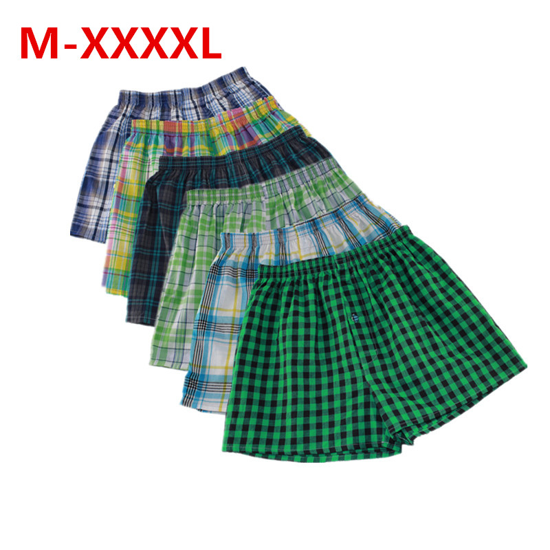 M-XXXXL Mens Underwear Boxers Loose Shorts Classic Plaid Men Boxer Shorts Mix Colors Trunks Cotton Cuecas Underwear 4PCS