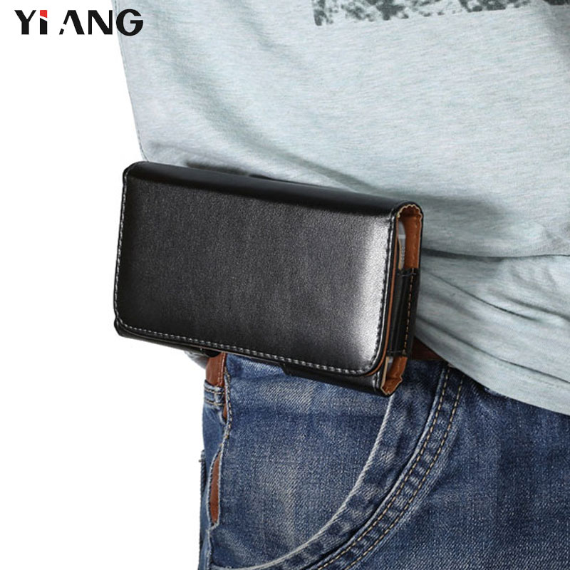 YIANG Brand PU Leather Waist Packs Casual Men Phone Pouch Bags Hook Loop Belt Clip Case Waist Bag Black Mobile Phone Bags