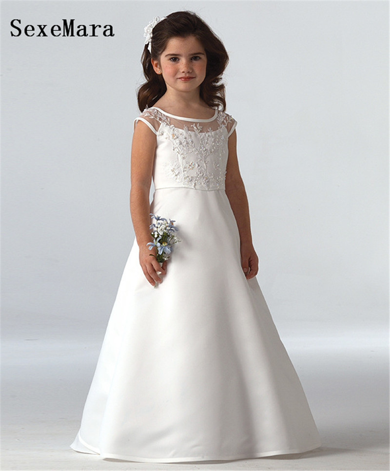 white A Line satin beading lace   Flower     Girl     Dresses   Long Princess Party Pageant gown kids first communion   dresses   custom made