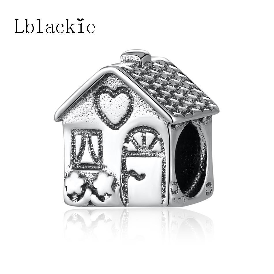 Аутентичные стерлингового серебра 925, пригодный браслет Pandora Винтаж Home Sweet Home Бусины Талисманы для Для женщин DIY ювелирных изделий