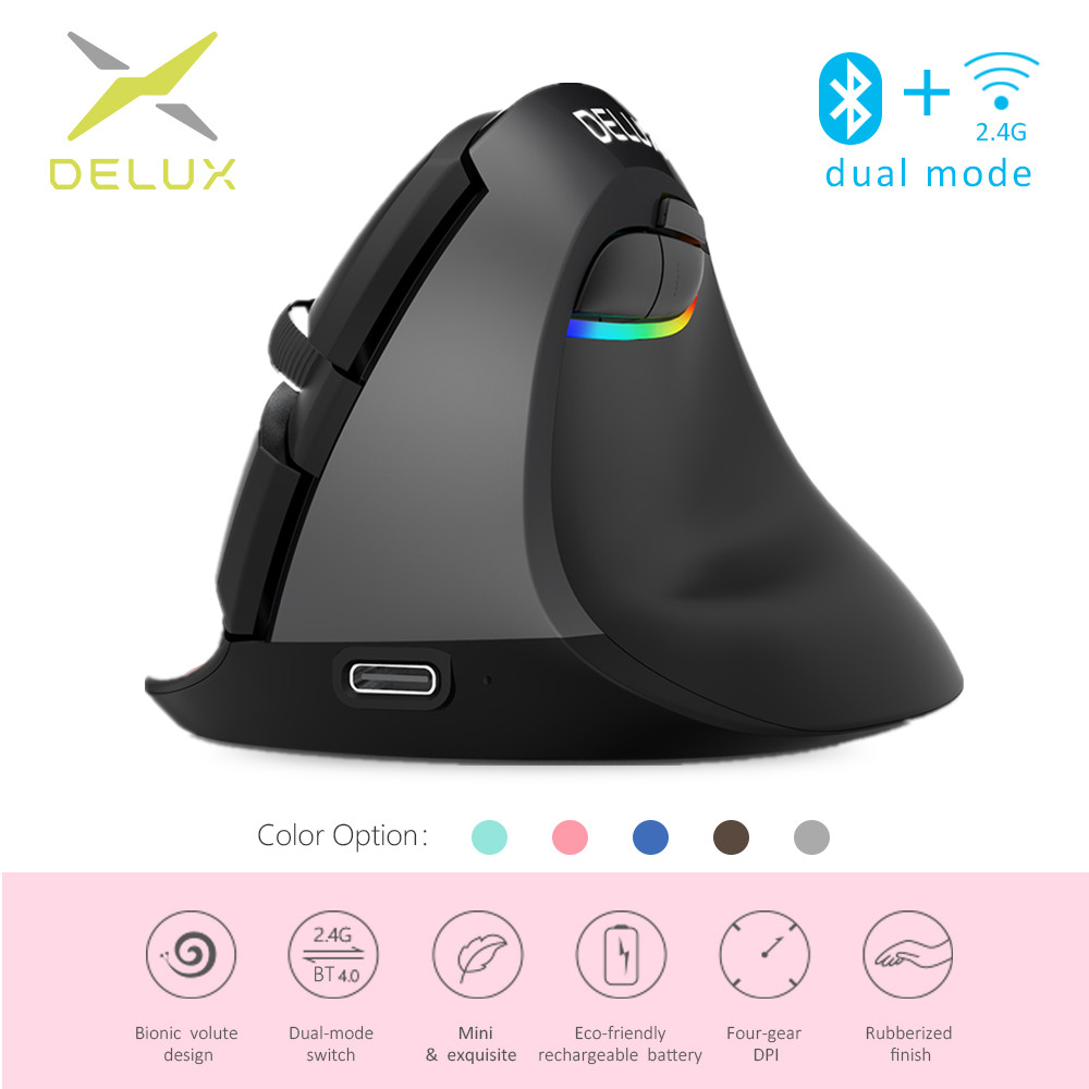 Delux M618 Mini Ergonomic Mouse Gaming Wireless Vertical Mouse Bluetooth 2.4GHz RGB Rechargeable Silent Mice for Office