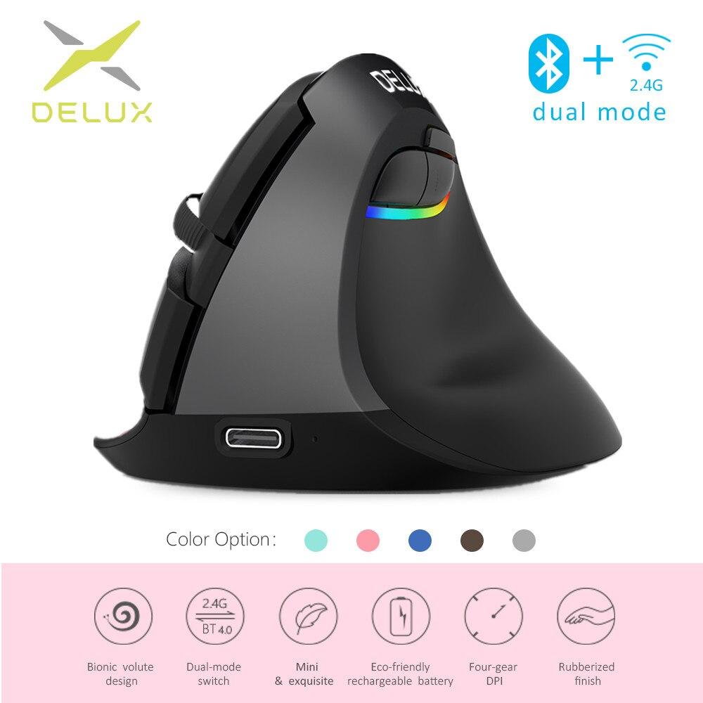 Мини-мышь Delux M618, эргономичная игровая беспроводная Вертикальная мышь, Bluetooth 2,4 ГГц, RGB перезаряжаемые бесшумные мыши для офиса