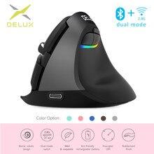 Delux M618 Mini Ergonomische Muis Gaming Draadloze Verticale Muis Bluetooth 2.4Ghz Rgb Oplaadbare Stille Muizen Voor Kantoor