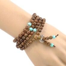 Perle de méditation bouddhiste en bois de santal, 108*6MM, collier de prière, bijoux pour femmes et hommes