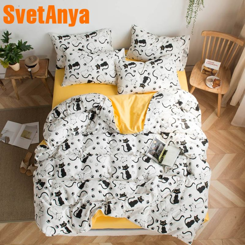 Svetanya Black Cats Print Bedding Set Cotton Duvet Cover Sheet Pillowcase