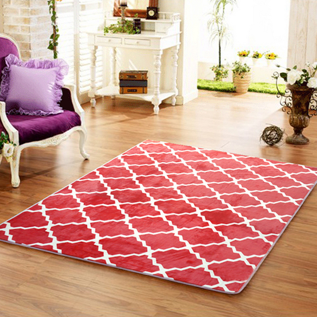 yazi Flannel Plush Grid Large Carpet Soft Baby Kid Play Mat Area Rug ...