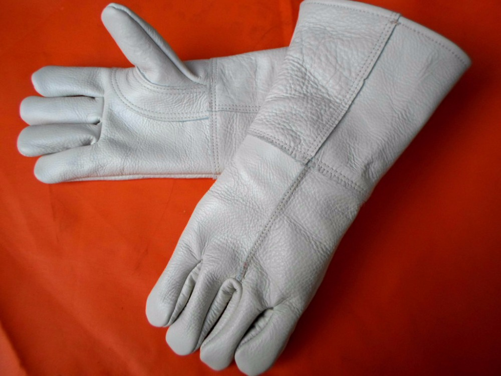 Купить с кэшбэком Cow Grain genuine leather welding gloves pets caring anti-bite/anti-hurt full lining with reinforced palm wear resistance