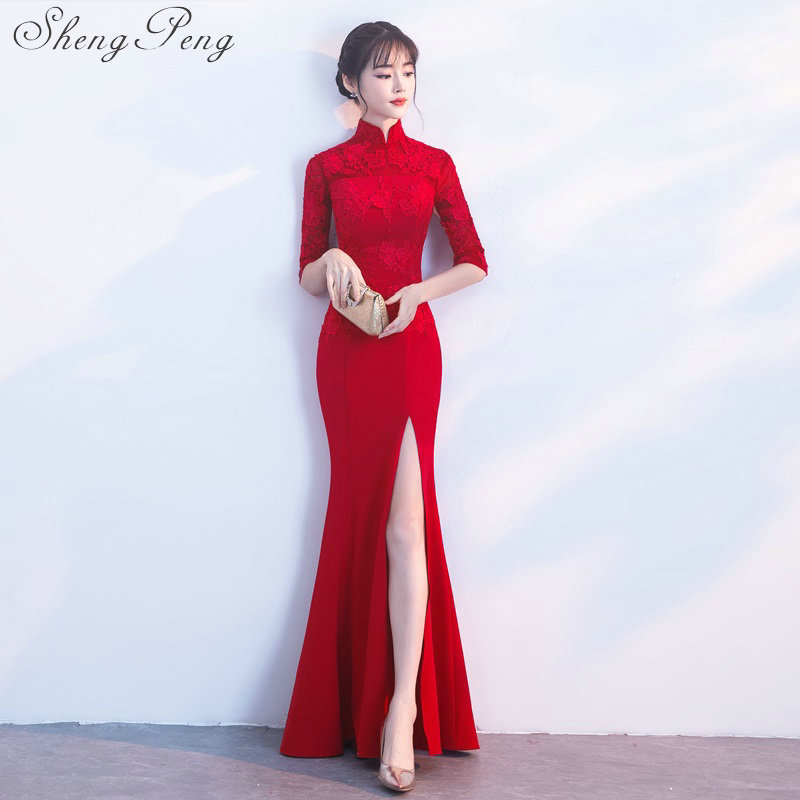 2018 new bride evening chinese wedding dress long qipao modern party dresse lace cheongsam traditional oriental
