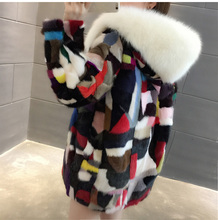 2018 New Women Natural Real Pieces mink fur coat Long hooded with fox fur collar Mink Fur Jacket Outwear