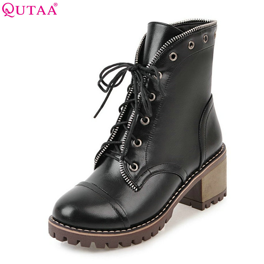 QUTAA 2018 PU Leather  Women Fashion Ankle Boots Square Heel Lace Up Deisgn Round Toe Solid Black Ladies Ankle Boots Size 33-43 hot sale high quality 2016 fashion ankle boots for women square heel black lace up round toe genuine leather boots