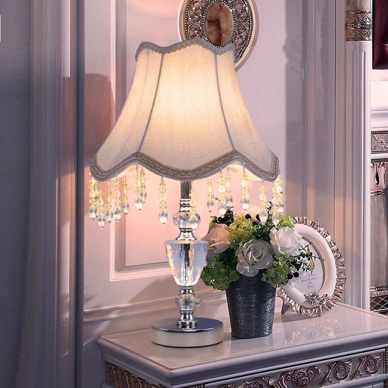 Стол настольные лампы кристалл K9 дома огни декор стола огни лампа современные украшения дома настольные лампы спальня ночники E27