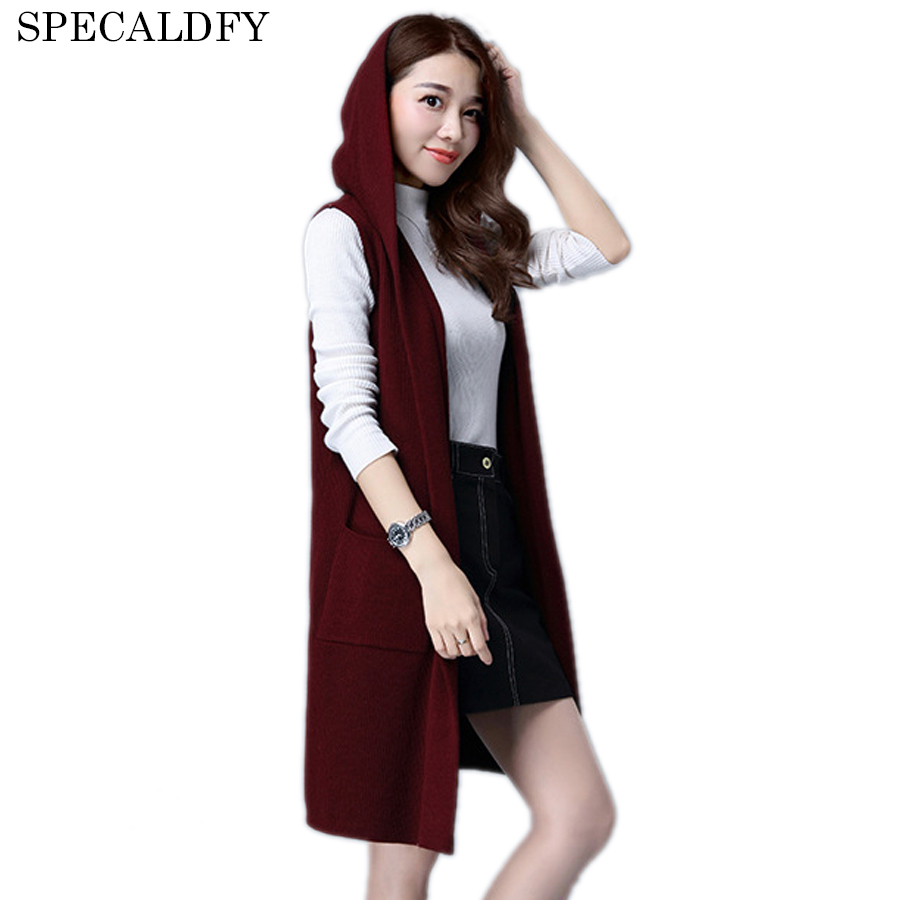 2018 Autumn Winter Long Cardigan Women Knitted Vest Jackets With ...