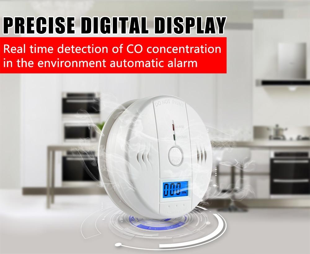 High Sensitive LCD Digital Backlight Carbon Monoxide Alarm Detector Tester CO Gas Sensor Alarm for Home Security 85dB