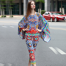 Мода костюмы устанавливает высокое качество весна/лето 2017 женщины круглым воротом Batwing Рукавом печатный топы + печать Пят длина Брюки