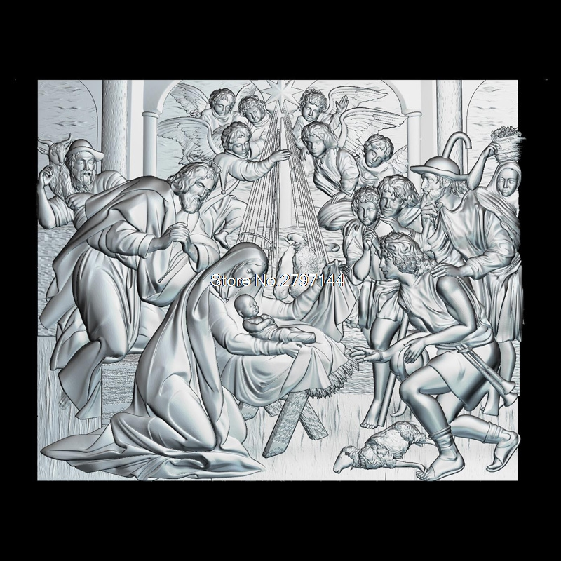 The Birth Of Jesus Christ 3d Model For Cnc STL Format Religion 3d Relief Model STL Router 3 Axis Engraver ArtCam