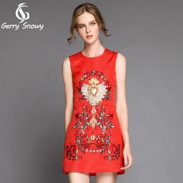 41cc060950d7 Suknia 2018 Lato Czerwona sukienka ciężki Zroszony diament wielki kwiat  Haftowane sukienka 30% Bawełna +