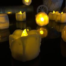 plastic yellow flicker battery candles electric candles flameless tea lights for christmas halloween wedding decoration - Halloween Light Bulbs