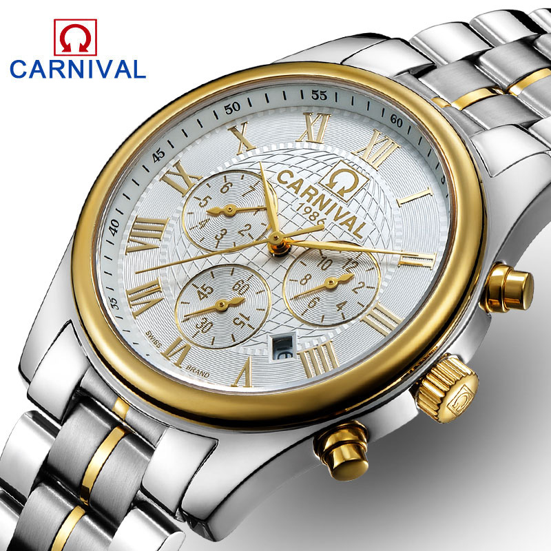 Carnival Watch Men Automatic Mechanical Stainless Steel Waterproof multifunction Gold Watches tevise fashion auto date automatic self wind watches stainless steel luxury gold black watch men mechanical t629a with tool