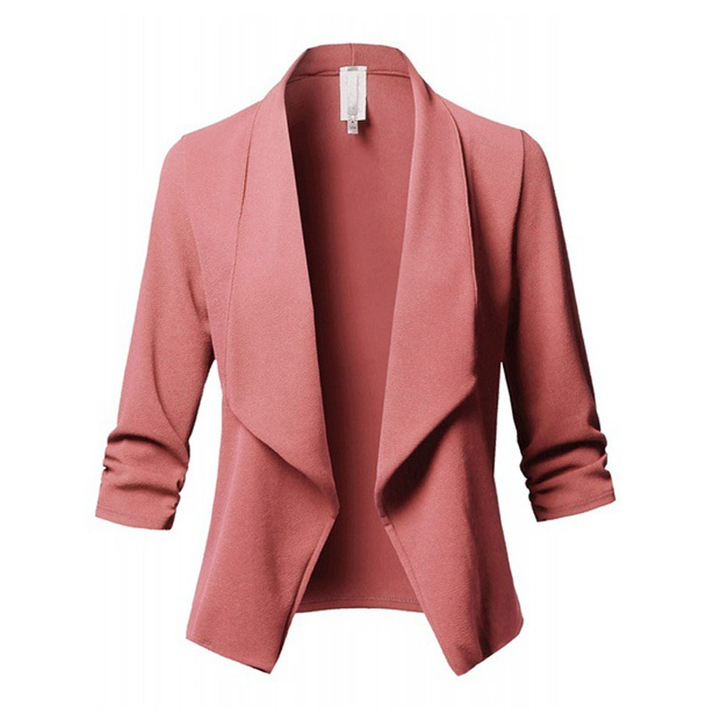2019 Women Blazers Casual Solid Color Long Sleeve OL Office Lady Ruched Blazer Formal Coat Suit 10 Colors Plus Size S-5XL(China)