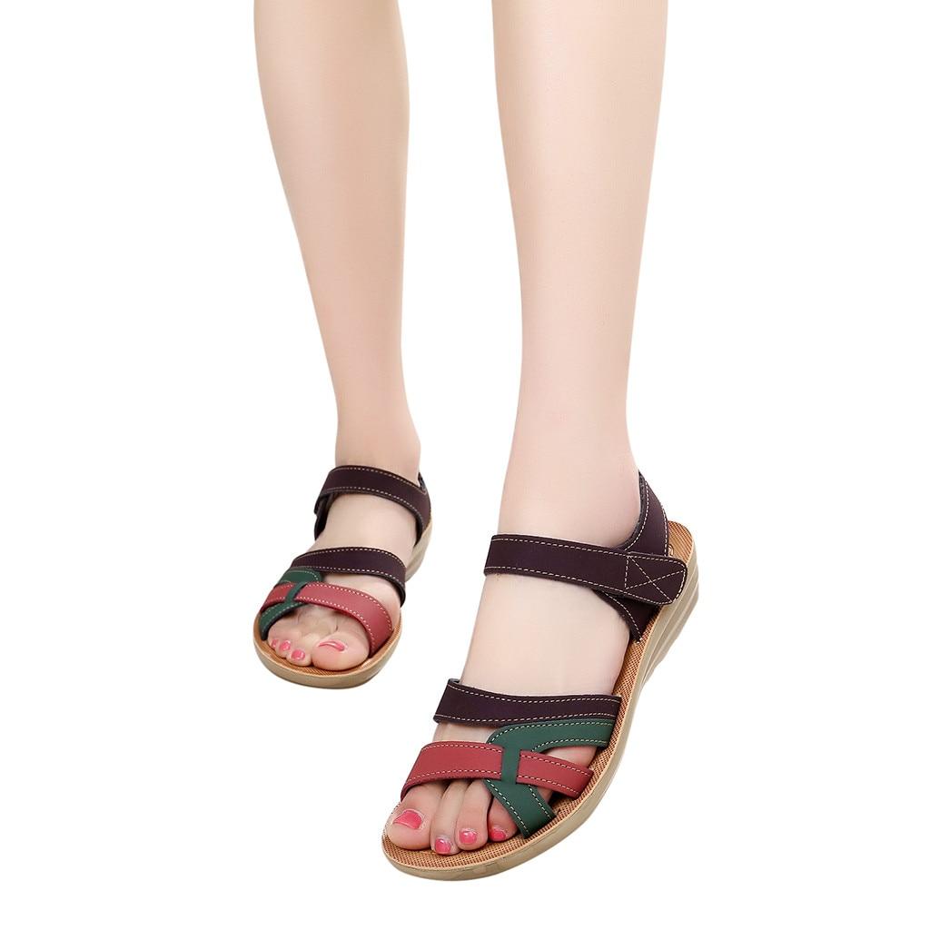 Sandals Wedges Flat-Shoes Comfort Summer Beach Fashion Soft-Bottom