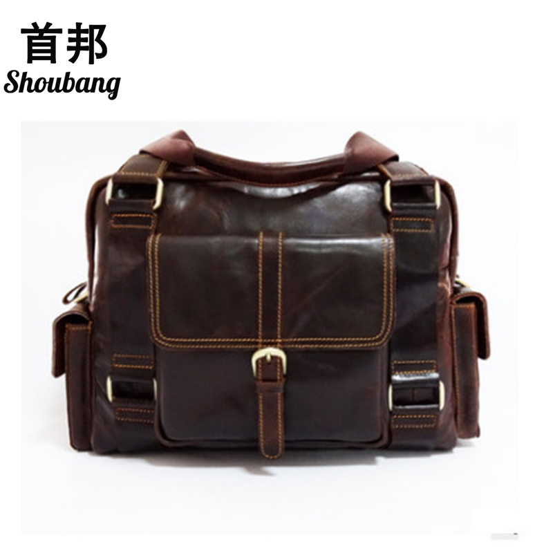 SHOUBANG Brand Genuine Leather Men Bag Vintage Men Laptop Briefcase Business Bag Cow Leather Men Handbag Shoulder  Messenger Bag