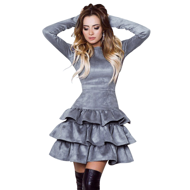 SORCHIDF Women's Ruffles Dress 2017 Autumn Winter Long Sleeve Cake Dresses Casual Mini Dress Ruffled Dress Vestidos Clothing 6
