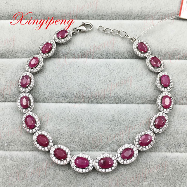925 sterling silver with 100% natural ruby bracelet Fashion jewelry Mother a gift affordable