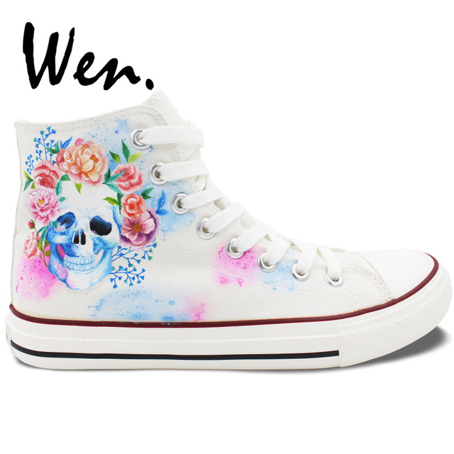 5a547afa1a66 Wen White Hand Painted Shoes Design Custom Skull Colorful Flowers Floral High  Top Canvas Sneakers Lace Up for Men Women s Gifts