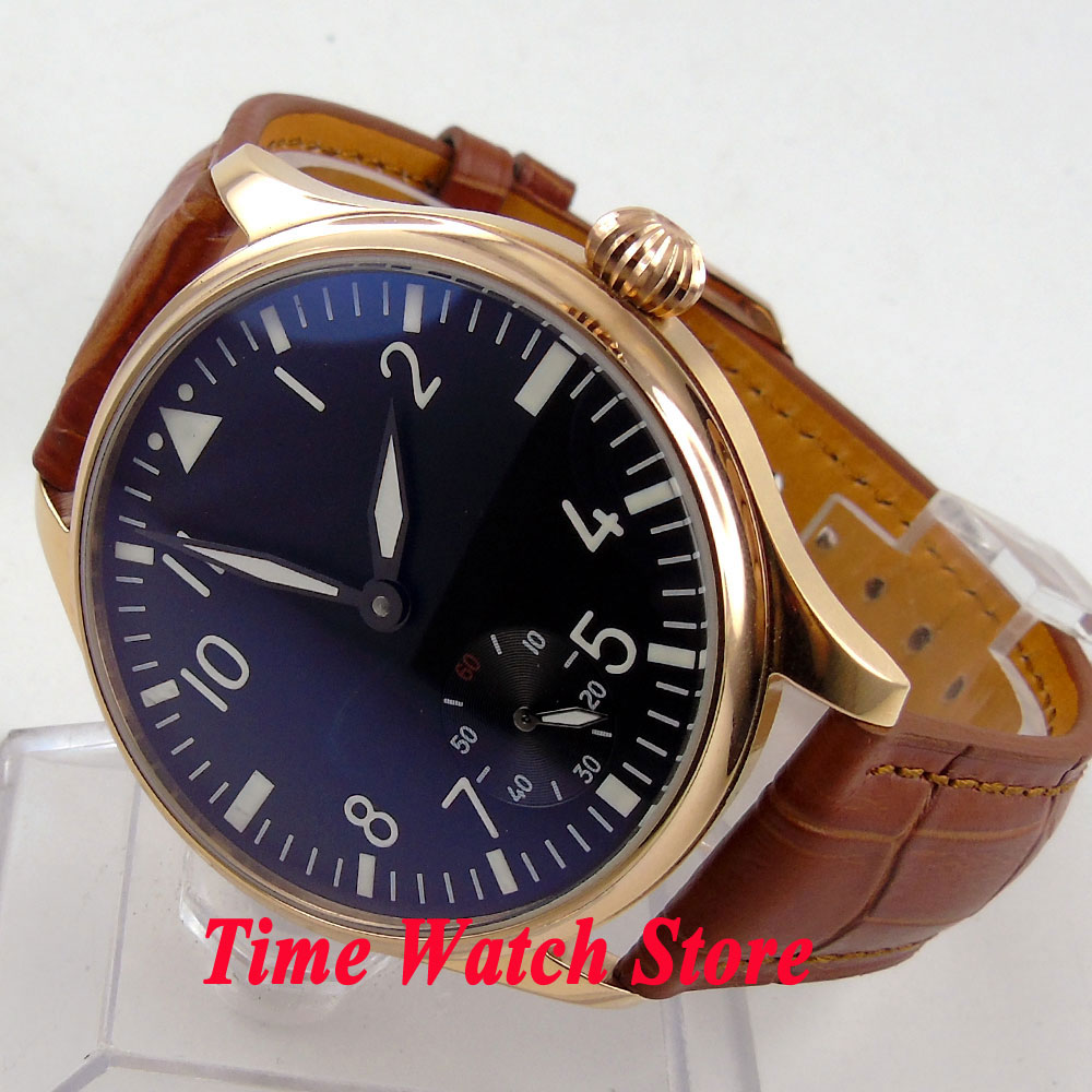 Parnis 44mm black dial white marks luminous Golden case 6498 hand winding movement Men's watch 252 цена и фото