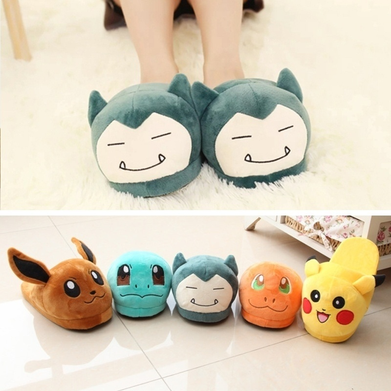 Sycatree Baby Kids Winter Warm Pokemon Snorlax Pikachu Cartoon Home Slippers Indoor Floor Shoes Non Slip House Shoes