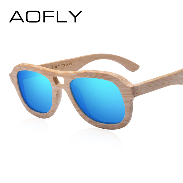 f5935984c51 AOFLY BRAND DESIGN Wood Polarized Sunglasses for Women Handmade Bamboo  Frame Sunglasses Fashion Twin-Beams Mirror Shades AF610