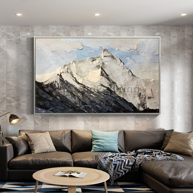 Us 79 0 Canvas Acrylic Painting Abstract Mountain Palette Knife Painting Wall Art Pictures For Living Room Home Decor Cuadro Decoration2 In Painting