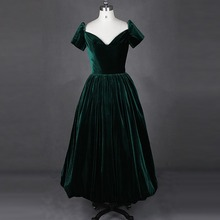 Real Sample Kurzarm Bodenlangen Dunkelgrün Samt Abend-kleid-formales Kleid robe de soiree