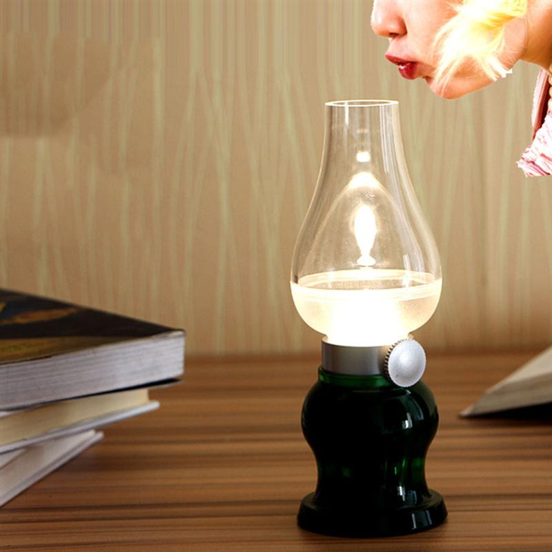 Vintage Blowing Control LED Desk Night Light Dimmable Retro Creative Kerosene Table Lamp USB Rechargeable LED Lamp new led blow light table light desk lamp vintage kerosene lamp style adjustable energy saving usb rechargeable light