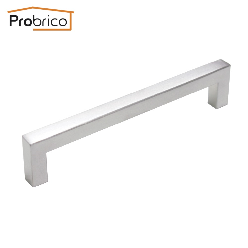 Probrico 12mm*12mm Square Bar Handle Stainless Steel Hole Spacing 160mm Cabinet Door Knob Furniture Drawer Pull PDDJ27HSS160 2pcs set stainless steel 90 degree self closing cabinet closet door hinges home roomfurniture hardware accessories supply