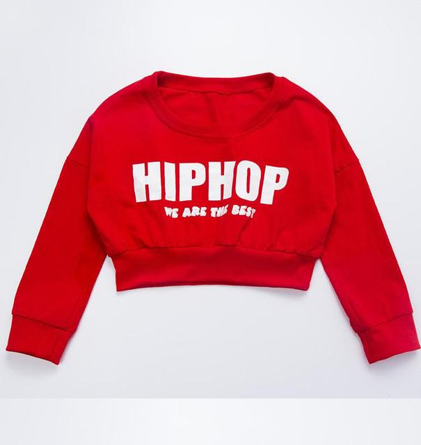 Girls Red Long Sleeved Jazz Hip Hop Dance Costume Loose Sweater Cropped Tops Shirt For Kid Street Modern Dancing Clothes Wear