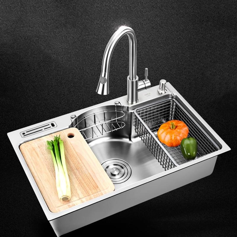 Кухонная раковина из нержавеющей стали, многофункциональная одинарная миска, Столешница или столешница, раковины с щеткой толщиной 1,2 мм, к...