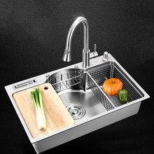 Кухонная раковина из нержавеющей стали многоцелевая одна чаша над столешницей или udermount раковины 1,2 мм толщина щеткой раковины кухня