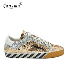 CANGMA Deluxe Casual Shoes Men Sneakers Autumn Gold Bass Glitter Sequin Leather Zebra Male Leisure Shoes Chaussure Plus Size