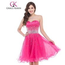 489b44cac431 Sweetheart Knee Length Deep Pink Short Prom Dresses Organza Ball Gown  Beading Dance Party Dress Sexy Bridesmaid 2018 GK6145