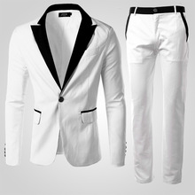 Бесплатная доставка мужская мода платье костюмы джентльмен важно высокое качество пряжки белый костюм