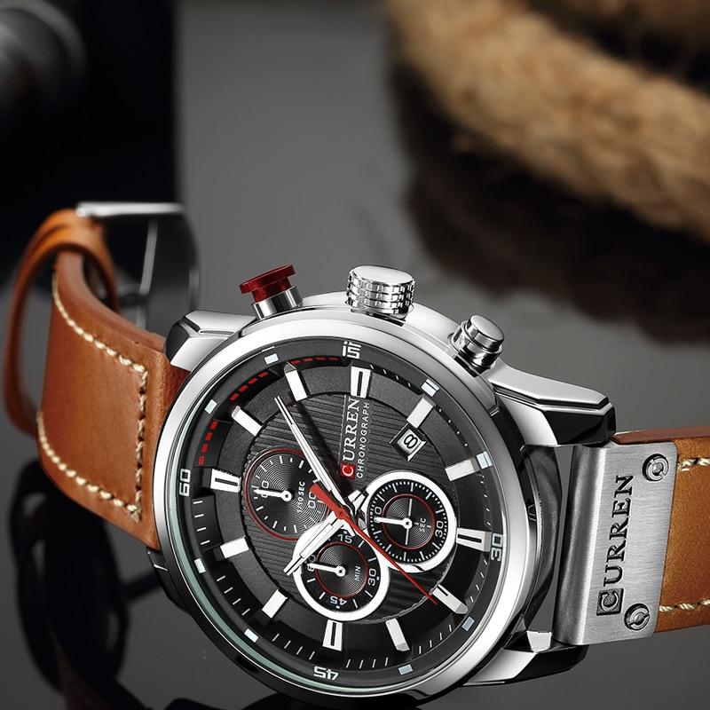 CURREN 8291 Luxury Brand Men Analog Digital Leather Sports Watches Men\`s Army Watch Man Quartz Clock Relogio Masculino drop shipping wholesale cheap 2019 (4)