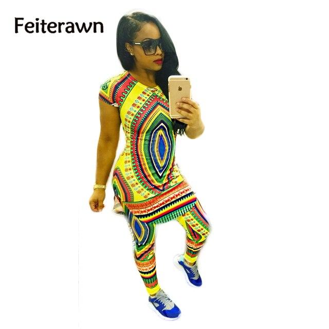 Feiterawn новое прибытие 2017 весна горячие продаж сексуальная новый дизайн Африканских племен тотем печати брюки набор клубные CM9595