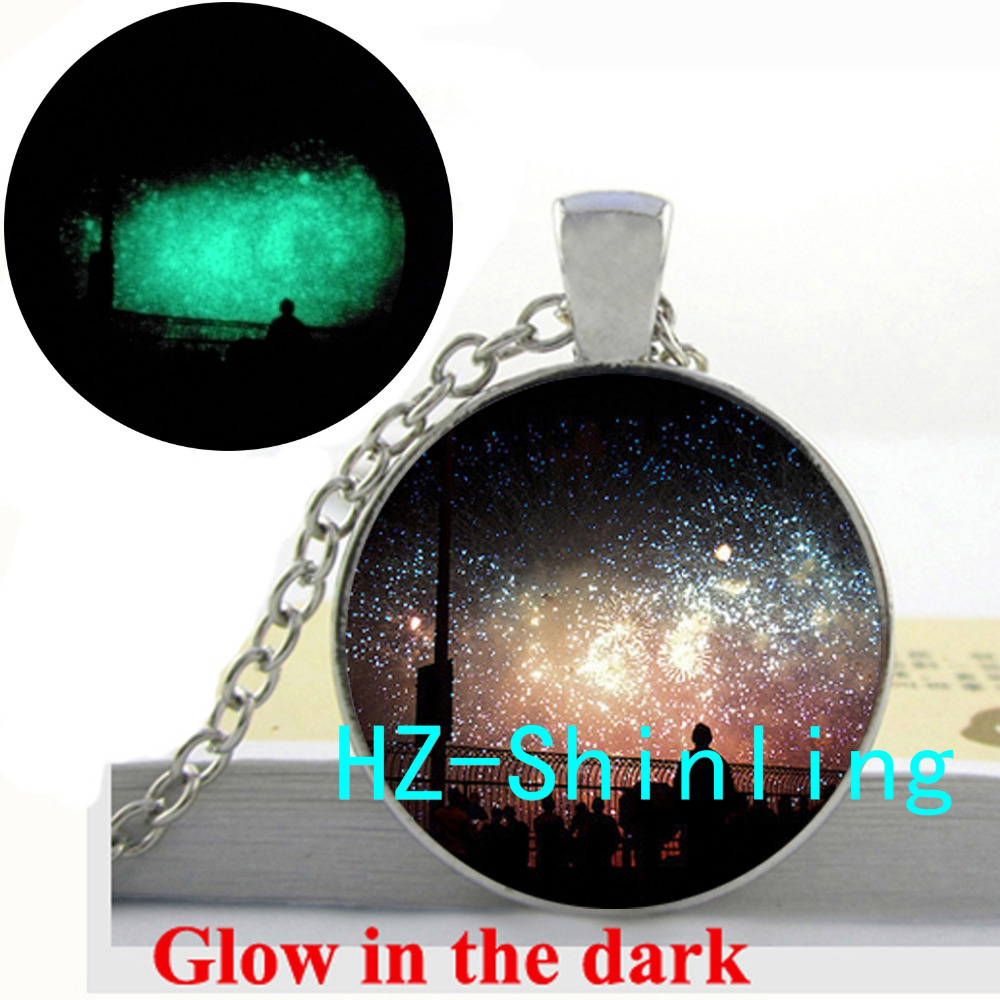 Glow in The Dark Watch Fireworks Necklace Fireworks Pendant Glass Dome Jewelry Glowing Necklace Pendant