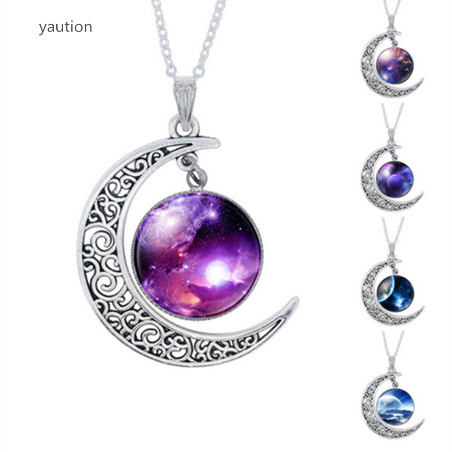 YAUTION Fashion Purple Nebula Space Universe Women Galaxy Crescent Moon Necklace Silver Plated Half Moon Pendant Necklace