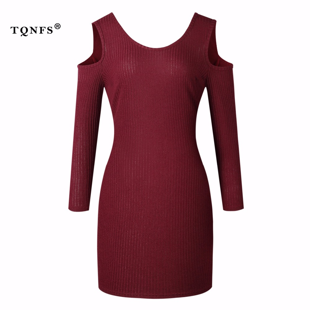 TQNFS Casual Off Shoulder Knitted Sweater Dress Women O Neck Bodycon Dress Women 2017 Winter Pullover Female Mini Dress casual off the shoulder round neck striped women s dress