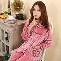 2017 Otoño y El invierno de la manera dulce 4 colores de alta calidad engrosamiento de franela de algodón caliente más el tamaño de las mujeres conjunto de pijama ropa de dormir