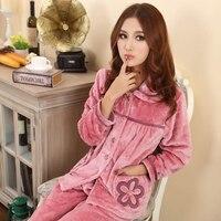2015 Autumn And Winter Coral Fleece Pajamas Women S Long Sleeve Plus Size Winter Sleepwear Thickening