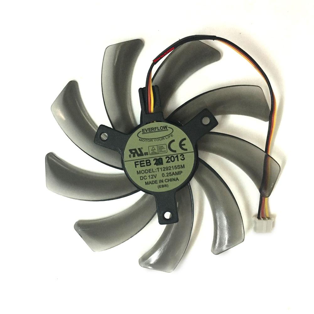 Free Shipping EVERFLOW T129215SM 95mm 3PIN computer cooler fan for Gigabyte GV-N650OC-1Gl 2Gl GV-N550WF2 N56GOC R667D3 R777OC everflow 75mm 2pin 2lines 0 2a t128010sm computer radiator graphics card cooler fan for gigabyte radeon r9 270x 280x vga cooling
