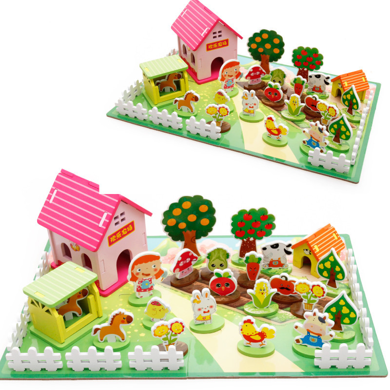 Baby Toys 3D Puzzle Farm Zoo Assembly Puzzle Wooden Toys Child Assembled Three-dimensional Animatic Puzzle Educational Gift kids educational diy 3d puzzle toys wooden assembly ancient chinese shaolin temple